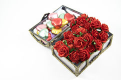 Opening Chocolate boxes with  roses Royalty Free Stock Photography