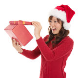 Opening Christmas Gift Royalty Free Stock Photos
