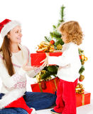 Opening Christmas present Stock Photography