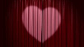 Opening and closing curtain with heart Royalty Free Stock Images