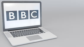 Opening and closing laptop with British Broadcasting Corporation BBC logo on the screen. Computer technology conceptual. Editorial 4K clip ProRes vector illustration