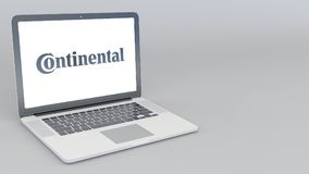 Opening and closing laptop with Continental logo. 4K editorial 3D rendering. Opening and closing laptop with Continental logo. 4K editorial 3D Stock Photos