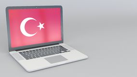 Opening and closing laptop with flag of Turkey on the screen. Opening and closing laptop with flag on the screen stock video