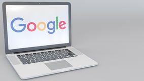 Opening and closing laptop with Google logo on the screen. Computer technology conceptual editorial 4K clip