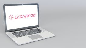 Opening and closing laptop with Leonardo S.p.A. logo. 4K editorial 3D rendering. Opening and closing laptop with Leonardo S.p.A. logo. 4K editorial 3D Stock Images