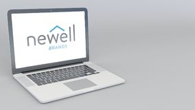 Opening and closing laptop with Newell Brands logo. 4K editorial 3D rendering Royalty Free Stock Photo