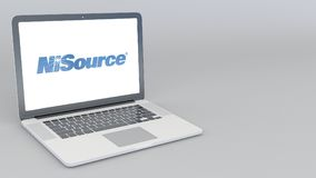 Opening and closing laptop with Nisource logo. 4K editorial 3D rendering Stock Images