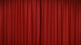 Opening and closing red curtain stock illustration