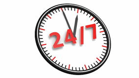 24/7 Opening Concept. Animation of twenty four hour seven days a week service sign / 24/7 Opening Concept stock video footage