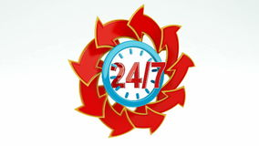 24/7 Opening Concept. Animation of twenty four hour seven days a week service sign with red arrows / 24/7 Opening Concept stock footage