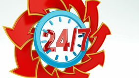 24/7 Opening Concept. Animation of twenty four hour seven days a week service sign with red arrows / 24/7 Opening Concept stock video footage