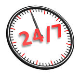 24/7 Opening Concept. Twenty four hour seven days a week service sign Royalty Free Stock Photos