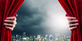 Opening curtain royalty free stock image