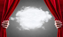 Opening curtain Stock Images