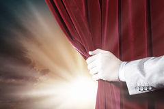 Opening curtain Stock Photography