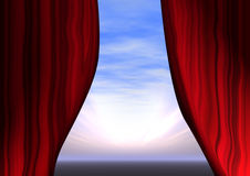Opening curtains Stock Image