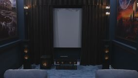 Opening curtains on Movie theater film. HD stock video footage