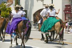 Opening day parade down State Street, Santa Barbara, CA, Old Spanish Days Fiesta, August 3-7, 2005 Royalty Free Stock Photography