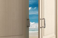 Opening door with beach view royalty free illustration