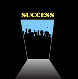 Opening the door of fame and success Stock Image