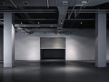 Opening door to the underground garage. 3d rendering. Opening door to the dark underground garage. 3d rendering Stock Photo
