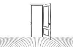 The opening door and window vector illustration