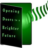 Opening Doors to an Ecologically Friendly Future. Opening doors to a brighter ecological friendly future  art graphic logo design Stock Image