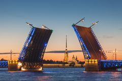 The opening of the drawbridge, white nights in Saint-Petersburg Royalty Free Stock Images
