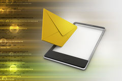 Opening e mail letter on smart phone Royalty Free Stock Images