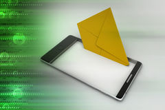Opening e mail letter on smart phone Stock Images