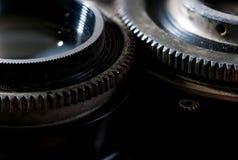 Opening en blind de macro van snelheidsringen op uitstekende camera wordt geschoten die royalty-vrije stock foto's