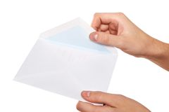 Opening envelope Stock Photography