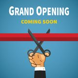 Opening event vector concept with red ribbon hand and scissors Royalty Free Stock Photography