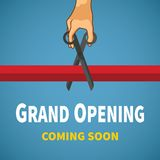 Opening event vector concept with red ribbon hand  Royalty Free Stock Photography