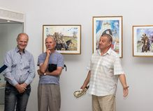 Opening of the exhibition of paintings Royalty Free Stock Photo