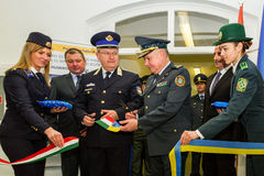 The opening of the first joint contact point on the Ukrainian-Hu Royalty Free Stock Photo