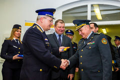 The opening of the first joint contact point on the Ukrainian-Hu Royalty Free Stock Image