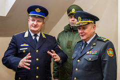 The opening of the first joint contact point on the Ukrainian-Hu. Záhony, Hungary - January 25, 2017: Head of the State Borderguard Service of Ukraine, colonel Royalty Free Stock Images