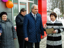 The opening of the first in Russia modular waiting room at the railway station `Matlievska` in the Kaluga region. Stock Photography