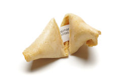 Opening fortune cookie process Royalty Free Stock Photos