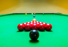 Opening Frame of Snooker Game from Back Stock Image