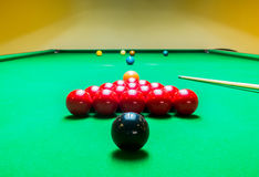 Opening Frame of Snooker Game with Cue Royalty Free Stock Image