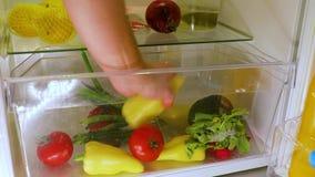 Opening fridge for food. Grabbing vegetables from the fridge stock video