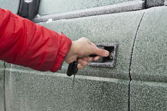 Opening Frozen Car Royalty Free Stock Photos