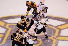 Opening game face-off  Krejci v. Crosby Royalty Free Stock Image