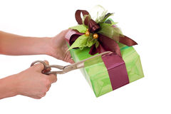 Opening gift Royalty Free Stock Image