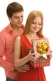 Opening a gift box Royalty Free Stock Photography
