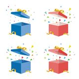 Opening Gift box with flying stars vector illustration