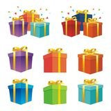 Opening Gift box with flying stars royalty free illustration