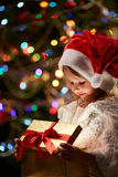 Opening gift Stock Images